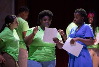 Teacher Alexa Bernard (right) with her students at the 2018 Cornerstones Festival at the Folger. Photo by Teresa Wood.