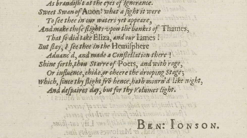 text from a poem in the First Folio
