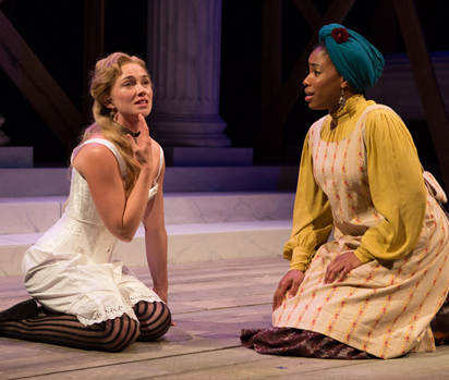 Maren Bush (Portia) and Celeste Jones (Nessa) in Folger Theatre's District Merchants. Photo by Teresa Wood.
