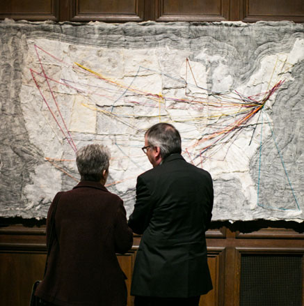 Carry Roy's textile map of the First Folios' travel paths. Photo by Yassine El Mansouri.