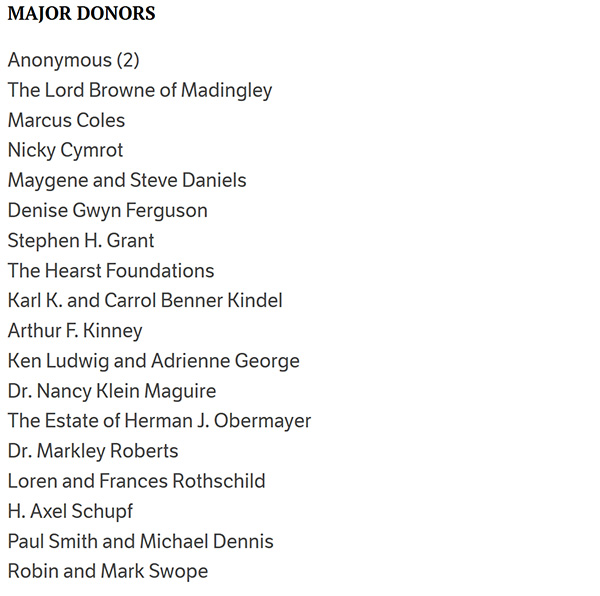 List of major donors